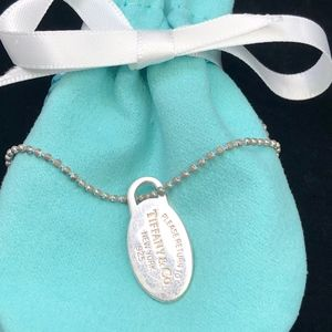 TC148 Silver Return to necklace bead chain oval